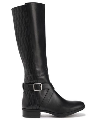 Woman Mattie Quilted And Smooth-leather Knee Boots Black