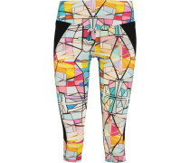 Leadlight cropped printed stretch leggings