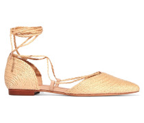 Nifertite Raffia Point-toe Flats Beige