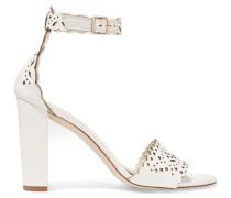 Charlotte Laser-cut Leather Sandals Weiß