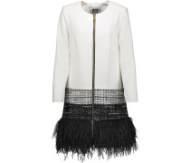 Feather-trimmed Crepe And Metallic Tweed Jacket Elfenbein