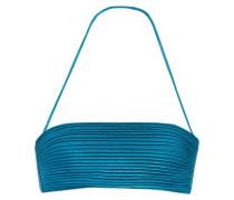 Ribbed stretch-satin bandeau bikini top