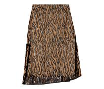 Broken Line Silk-trimmed Lace Skirt Camel