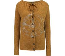 Oasis Metallic Printed Wool-blend Cardigan Safrangelb