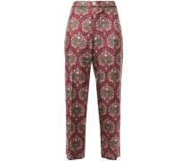 Woman Ceo Cropped Printed Silk-twill Straight-leg Pants Grape
