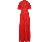 Woman Belted Crepe De Chine-trimmed Corded Lace Gown Tomato Red