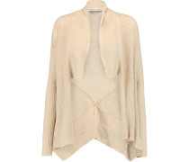Draped Ribbed Cotton Cardigan Beige
