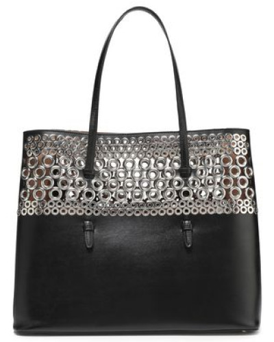 Eyelet-embellished Laser-cut Leather Tote Black Size --
