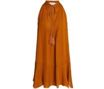 Fluted Pintucked Silk Mini Dress