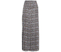 Pleated Metallic-trimmed Floral-print Voile Maxi Skirt