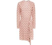 Drapiertes Kleid aus Crêpe mit Floralem Print
