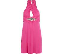 Embellished Stretch-jersey Dress Fuchsia