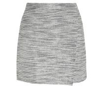Origami Wrap-effect Metallic Tweed Mini Skirt Hellgrau