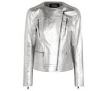 Metallic textured-leather biker jacket