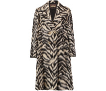 Printed Brushed Wool-blend Coat Braun