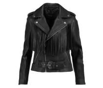 Fringed leather biker jacket