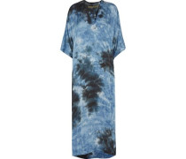 Tie-dyed satin maxi dress