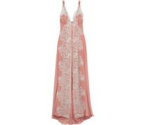 Sweet Sumatra metallic lace-paneled silk-georgette nightdress