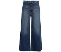 The Swooner Cropped Frayed High-rise Wide-leg Jeans