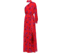 Isabeau One-shoulder Floral-print Silk-chiffon Gown