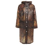 Tiger-print Matte-tpu Hooded Raincoat