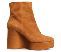Woman Suede Platform Wedge Ankle Boots Camel