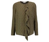 Ruffled Printed Silk Blouse Armeegrün
