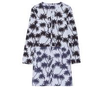Printed Cotton Mini Dress Himmelblau