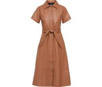 Alina Belted Leather Midi Shirt Dress