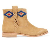Embroidered nubuck ankle boots