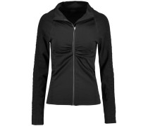 Vera Croc Effect-trimmed Stretch-jersey Jacket Schwarz