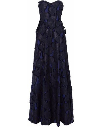 Strapless Lace-up Fil Coupé Cotton-blend Gauze Gown Navy