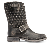 Jenna Distressed Leather Boots Schwarz