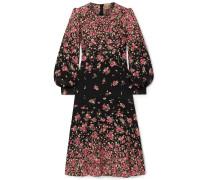 Gathered Floral-print Silk Crepe De Chine Dress