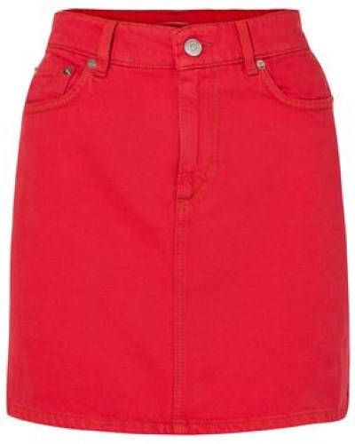 Woman Denim Mini Skirt Red