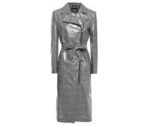 Checked Coated Cotton And Linen-blend Raincoat