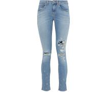 Woman Elerie Distressed Low-rise Skinny Jeans Mid Denim