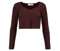 Cropped ribbed-knit sweater