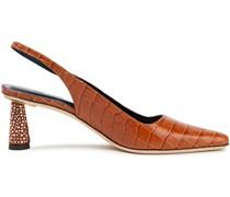 Diana Slingback-pumps aus Leder mit Krokodileffekt