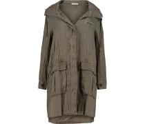 Linen Hooded Coat Armeegrün