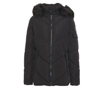 Faux Fur-trimmed Quilted Shell Hooded Jacket