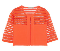 Cutout-paneled Stretch-knit Cropped Jacket Tomatenrot