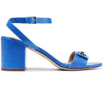 Logo-embellished Lizard-effect Leather Sandals