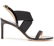 Patent Leather-trimmed Stretch-knit Slingback Sandals