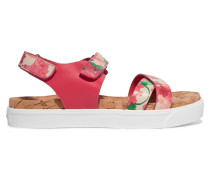 Brittany Printed Leather And Cork Sandals Pink