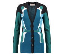 Marble Instarsia-knit Cotton, Cashmere And Silk-blend Cardigan Petrol