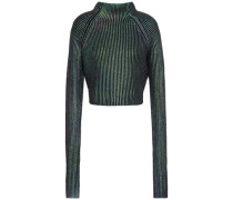Cropped Iridescent Ribbed Cotton Top Black