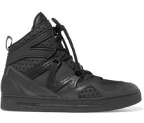 Mesh, leather and acrylic high-top sneakers