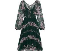 Kleid aus Chiffon mit Floralem Print und Falten