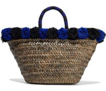 Pompom-embellished woven straw tote